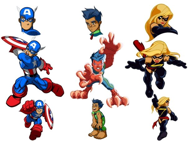 Concept art and cast for the new Superhero Squad Cartoon